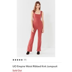 UO Empire Waist Ribbed Knit Jumpsuit